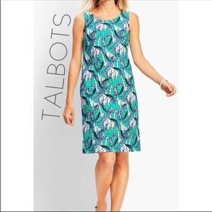 NWT Talbots giraffe jungle teal shift dress 4